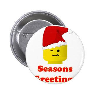 Santa Minifig Seasons Greetings Pinback Button