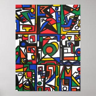 Santa Monica-Abstract Geometric Handpainted Poster