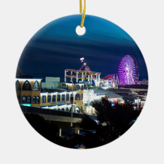 Santa Monica at Night Ceramic Ornament