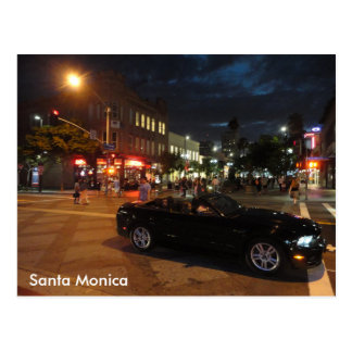 Santa Monica at Night Postcard