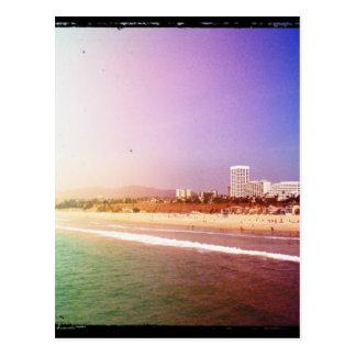 Santa Monica Beach - Green Purple Photo Edit Postcard