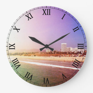 Santa Monica Beach - Green Purple Photo Edit Wallclock