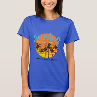SANTA MONICA BEACH SURFING CUSTOM T-SHIRT