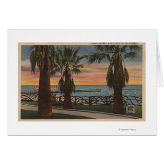 Santa Monica CA - Yacht Harbor and Sunset View Greeting Cards