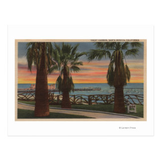 Santa Monica, CA - Yacht Harbor and Sunset View Post Cards