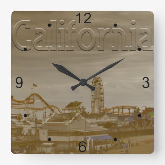 Santa Monica California Square Wall Clock