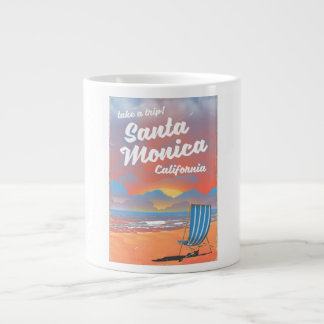 Santa Monica California vintage beach poster Large Coffee Mug