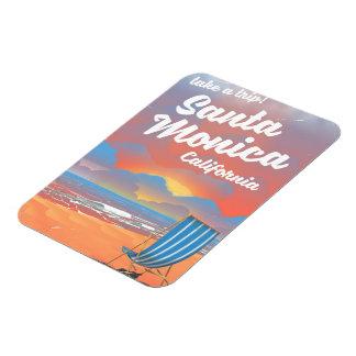 Santa Monica California vintage beach poster Magnet