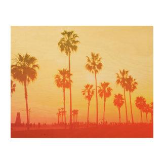 Santa Monica in Red Wood Print