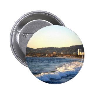 Santa Monica Pier as seen from Venice Beach 6 Cm Round Badge