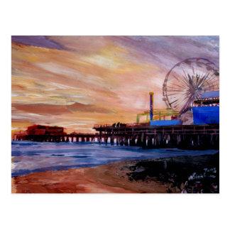 Santa Monica Pier At Sunset Postcards