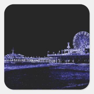 Santa Monica Pier Blue Neon Night Photo Edit Square Sticker