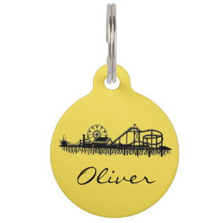 Santa Monica Pier California Cali Ferris Wheel Pet ID Tag
