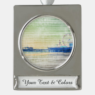 Santa Monica Pier green grey Canvas Silver Plated Banner Ornament
