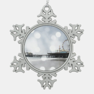 Santa Monica Pier Grey Sparkles Photo Edit Snowflake Pewter Christmas Ornament