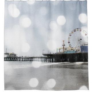 Santa Monica Pier Grey Sparkles Shower Curtain