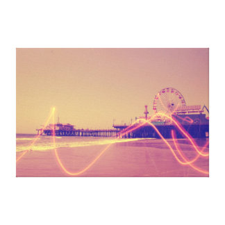 Santa Monica Pier Pink Lightning Edit Canvas Print