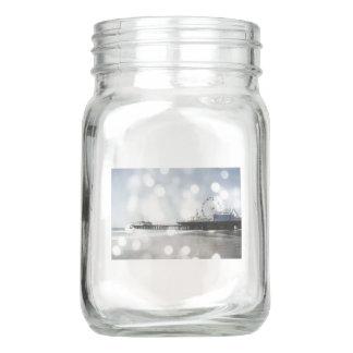 Santa Monica Pier Silver Grey Sparkles Mason Jar