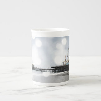 Santa Monica Pier Silver Grey Sparkles Photo Edit Tea Cup