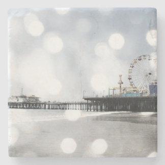 Santa Monica Pier Silver Grey Sparkles Stone Coaster