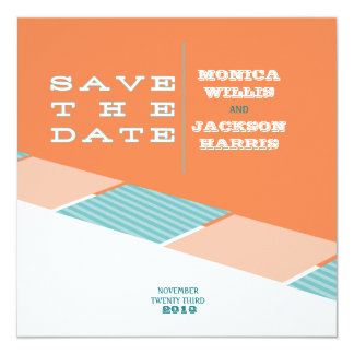 Santa Monica Save the Date:  Orange Crush 13 Cm X 13 Cm Square Invitation Card