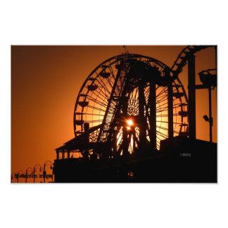 Santa Monica Sunset Through the Ferris Wheel Photo Print