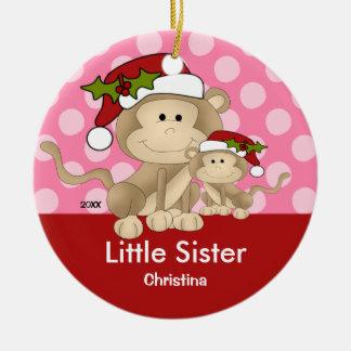 Santa Monkey Little Sister Christmas Ornament