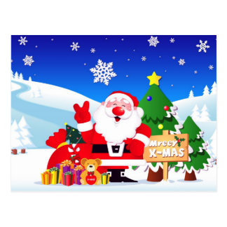 "Santa ""mreey x-mas""Post Cards Postcard"