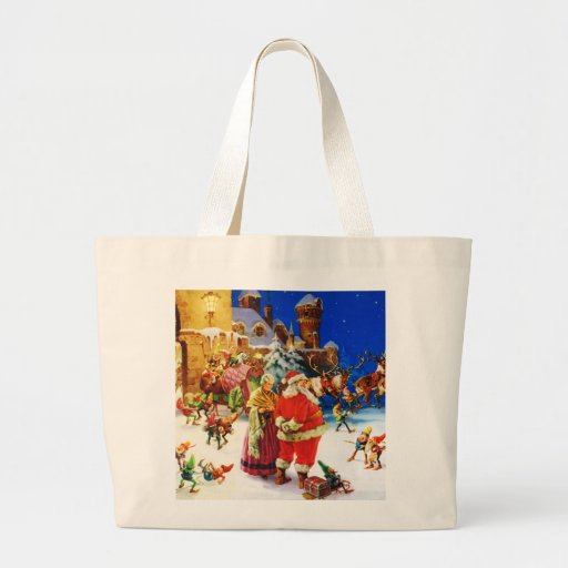 Santa & Mrs. Claus At the North Pole Christmas Eve Canvas Bag