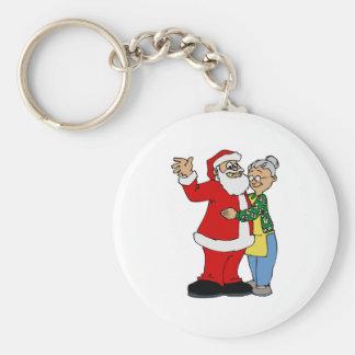 Santa & Mrs. Claus Basic Round Button Key Ring