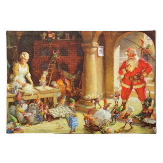 Santa & Mrs. Claus & the Elves Bake Cookies Placemat