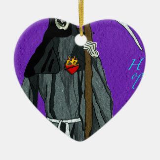 santa muerte apparell ceramic heart decoration