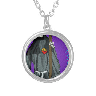 santa muerte apparell round pendant necklace