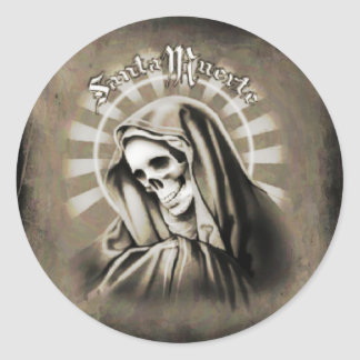 Santa Muerte BLACK AND GREY Round Sticker