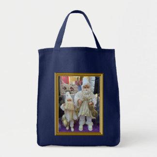 Santa musicians grocery tote bag