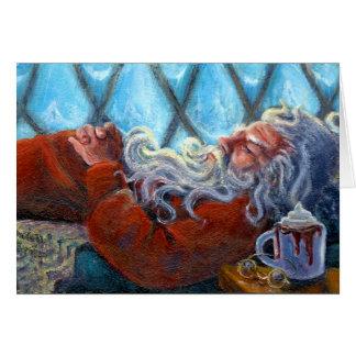 """""""Santa Napping"""" Blank Note Card"""