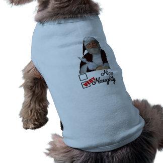 Santa Naughty Christmas Dog Jumper Sleeveless Dog Shirt