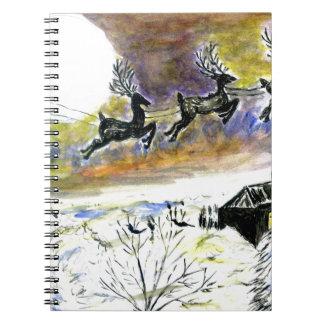 Santa Night Flight2 Spiral Notebook