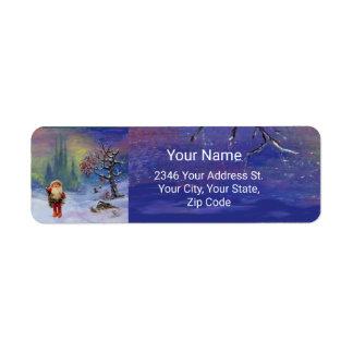 SANTA OF THE GNOMES Blue Christmas Return Address Label