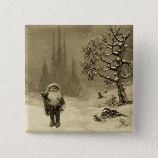 SANTA OF THE GNOMES Funny Christmas Sepia Brown 15 Cm Square Badge