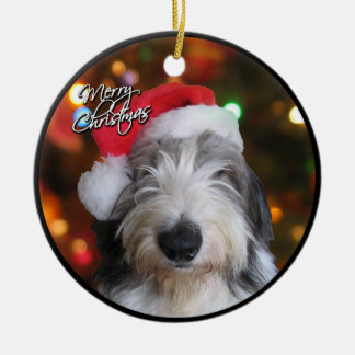 Santa Old English Sheepdog Christmas Ornament