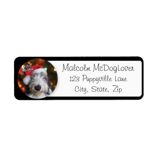 Santa Old English Sheepdog Return Address Label
