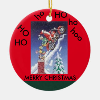 Santa on a motorcycle christmas circle ornament