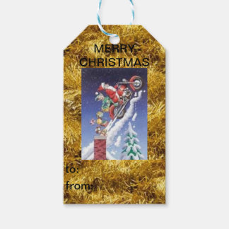 Santa on a Motorcycle Christmas Gift Tag