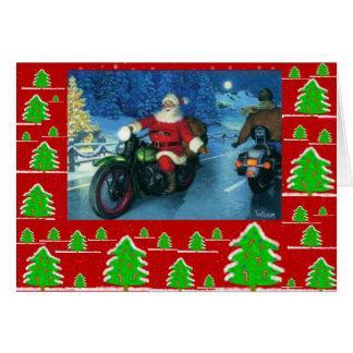 Santa on a motorcycle/chrstmas trees card
