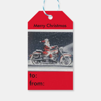 Santa on a motorcycle gift tag