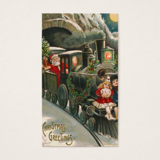 """Santa on a Train"" Vintage Gift Tag"