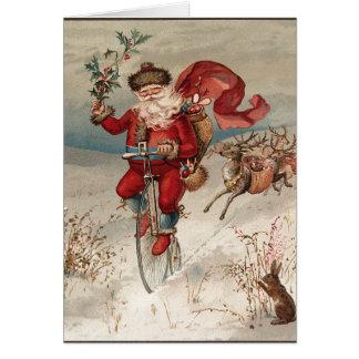 Santa on Bicycle Notecards Card