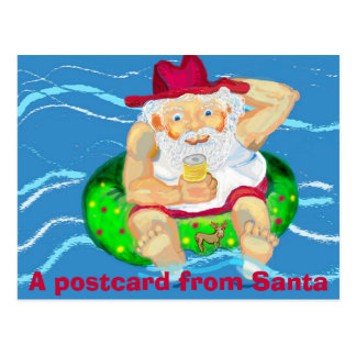 Santa on holidays postcard