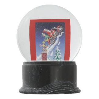Santa on motorcycles holiday snow globe
